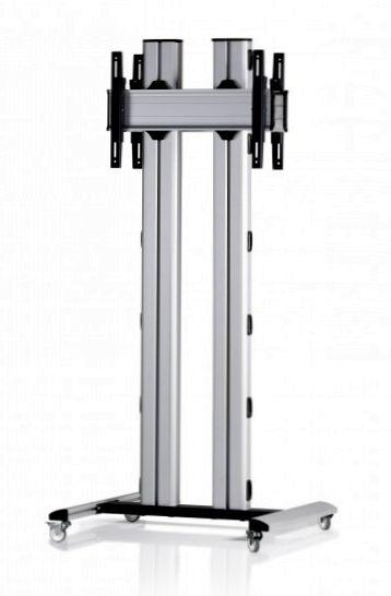 2 Displays 1×1 beidseitig, für große Bildschirme, Höhe 180 cm, Standard-VESA, auf Standfüßen mit Laufrollen