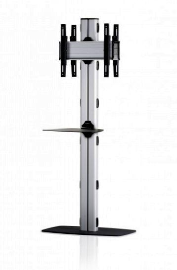 2 Displays 1x1 beidseitig, Höhe 180 cm, Standard-VESA, Ablage, mit Standfuß