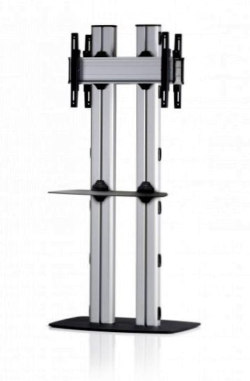 2 Displays 1×1 beidseitig, für große Bildschirme, Höhe 180 cm, Standard-VESA, Ablage, mit Standfuß