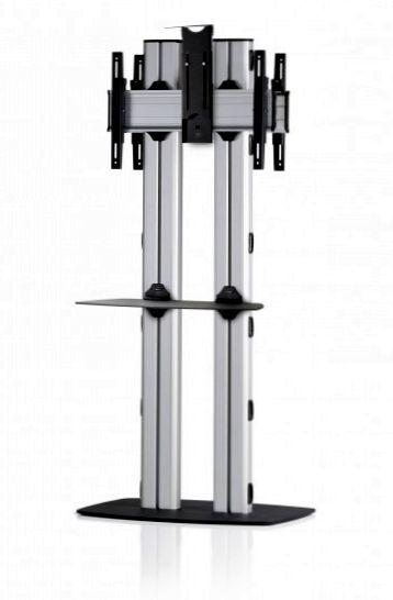 2 Displays 1×1 beidseitig, für große Bildschirme, Höhe 180 cm, Standard-VESA, Kamera-Halterung, mit Standfuß