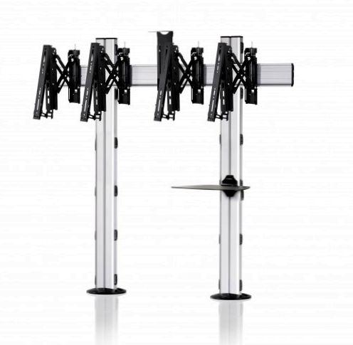 2 Displays 1×2, Teleskop-VESA, Ablage, Kamera-Halterung, – zur Bodenbefestigung