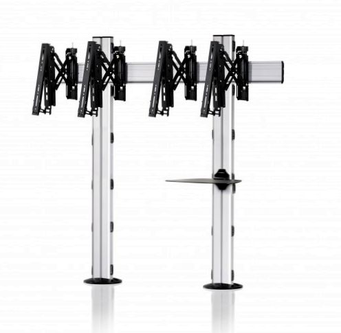 2 Displays 1×2, Teleskop-VESA, Ablage, zur Bodenbefestigung
