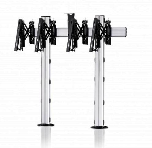 2 Displays 1×2, Teleskop-VESA, Kamera-Halterung, zur Bodenbefestigung