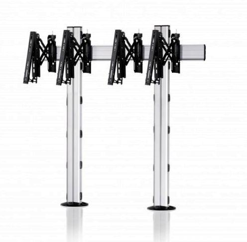 2 Displays 1×2, Teleskop-VESA, zur Bodenbefestigung