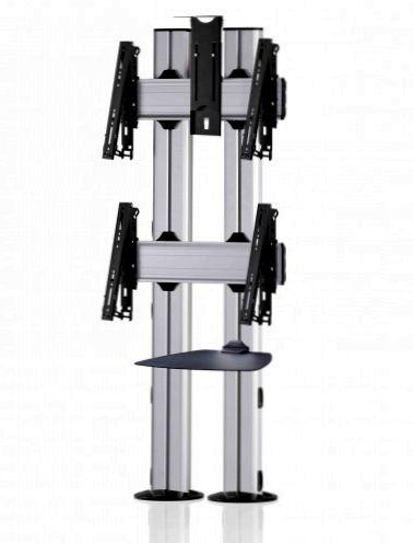 2 Displays 2×1, für große Bildschirme, multifunktioneller VESA, Ablage, Kamera-Halterung, zur Bodenbefestigung