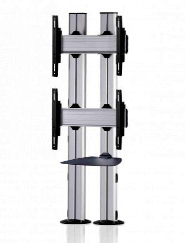 2 Displays 2×1, für große Bildschirme, Standard-VESA, Ablage, zur Bodenbefestigung