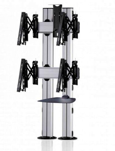 2 Displays 2×1, für große Bildschirme, Teleskop-VESA, Ablage, Kamera-Halterung, – zur Bodenbefestigung