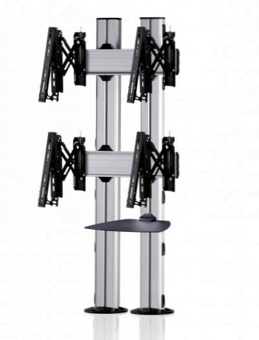 2 Displays 2×1, für große Bildschirme, Teleskop-VESA, Ablage, zur Bodenbefestigung