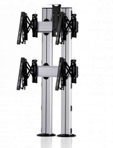 2 Displays 2×1, für große Bildschirme, Teleskop-VESA, Kamera-Halterung, zur Bodenbefestigung