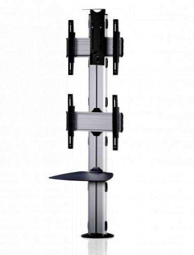 2 Displays 2×1, Standard-VESA, Ablage, Kamera-Halterung, zur Bodenbefestigung
