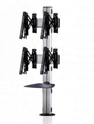 2 Displays 2×1, Teleskop-VESA, Ablage, zur Bodenbefestigung