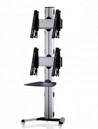 2 Displays 2x1, multifunktioneller VESA, Ablage, auf Standfüßen mit Laufrollen