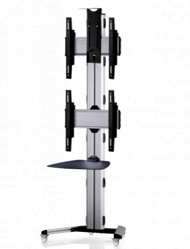 2 Displays 2x1, Standard-VESA, Ablage, Kamera-Halterung, auf Standfüßen mit Laufrollen