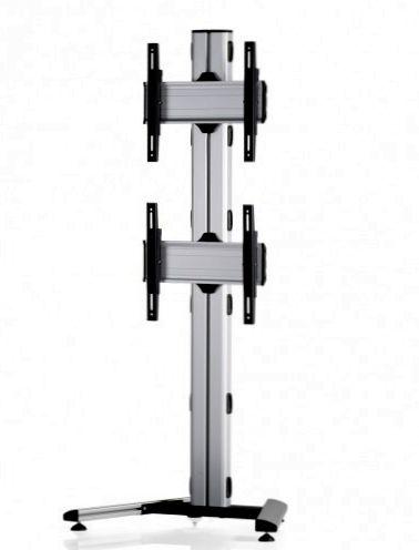 2 Displays 2x1, Standard-VESA, auf Standfüßen mit Laufrollen
