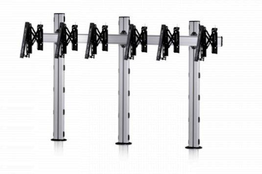 3 Displays 1×3, für große Bildschirme, Teleskop-VESA, zur Bodenbefestigung