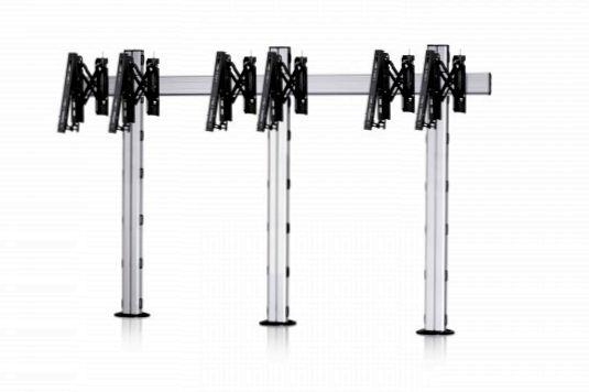3 Displays 1×3, Teleskop-VESA, zur Bodenbefestigung