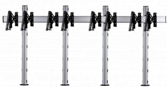 4 Displays 1×4, Teleskop-VESA, zur Bodenbefestigung