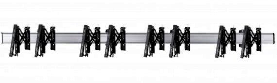 4 Displays 1×4, Teleskop-VESA, zur Wandbefestigung