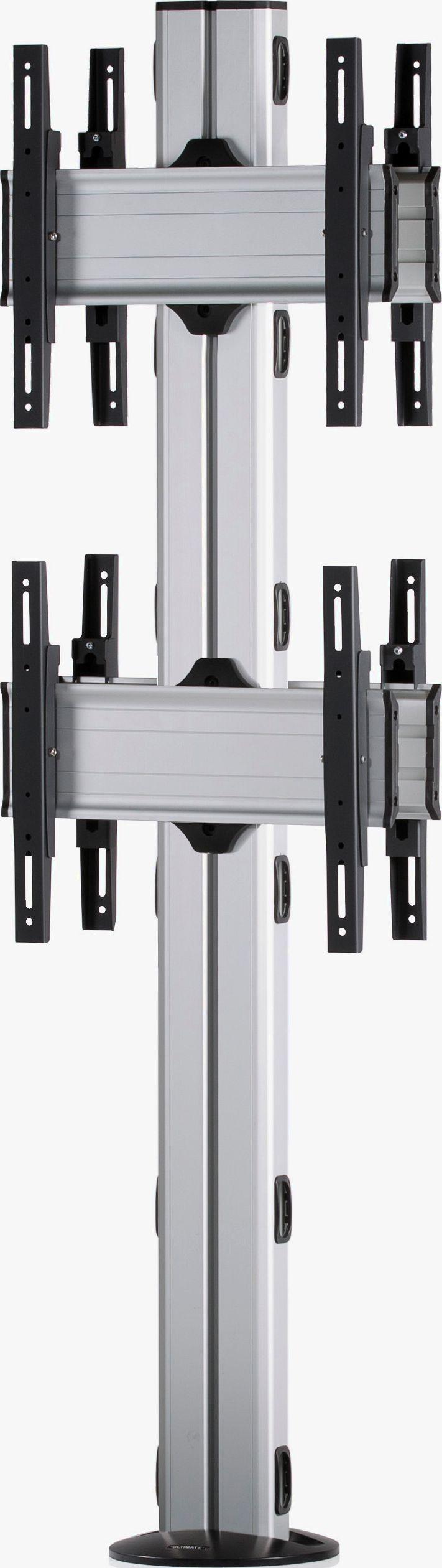 4 Displays 2×1 beidseitig, Standard-VESA, zur Bodenbefestigung