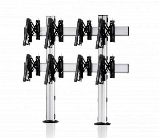 4 Displays 2×2, Teleskop-VESA, zur Bodenbefestigung