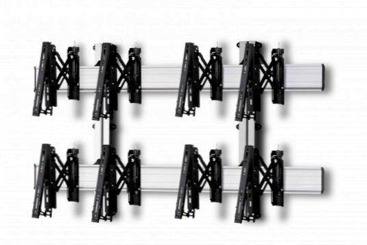 4 Displays 2×2, Teleskop-VESA, zur Wandbefestigung