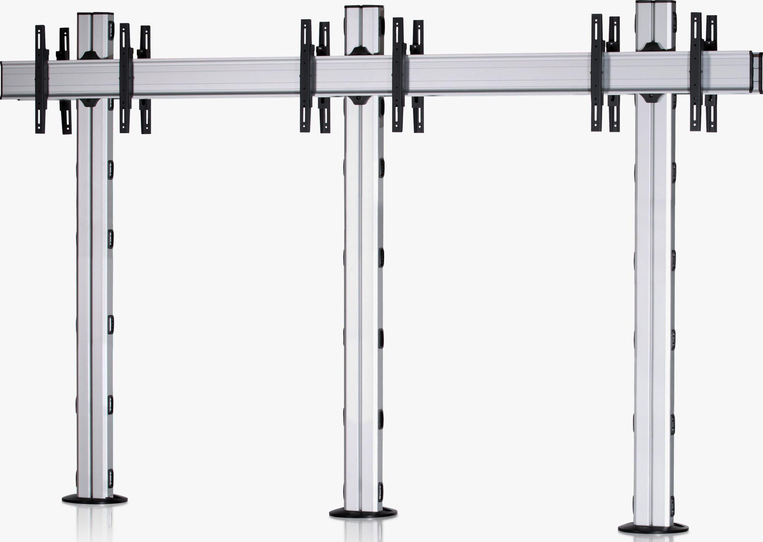 6 Displays 1×3 beidseitig, Standard-VESA, zur Bodenbefestigung