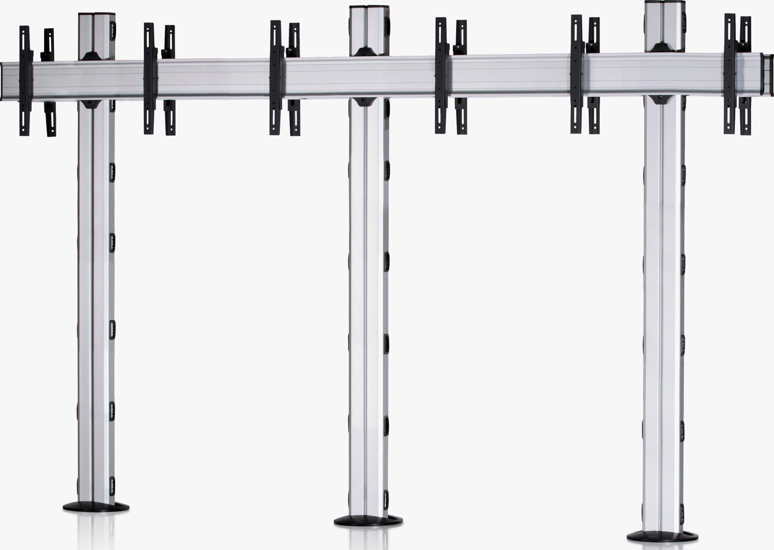 6 Displays 1×3 beidseitig, für große Bildschirme, Standard-VESA, zur Bodenbefestigung