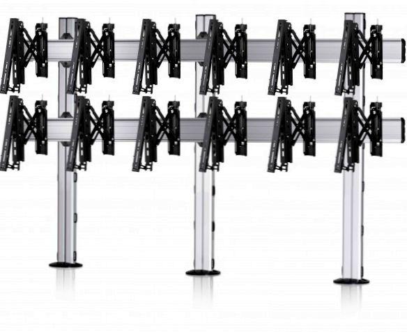 6 Displays 2×3, für große Bildschirme, Teleskop-VESA, zur Bodenbefestigung
