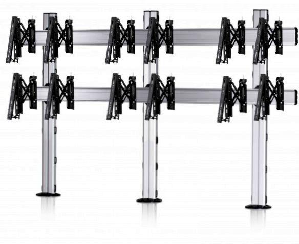 6 Displays 2×3, Teleskop-VESA, zur Bodenbefestigung
