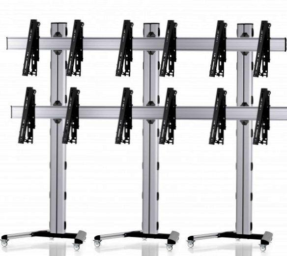 6 Displays 2x3, multifunktioneller VESA, auf Standfüßen mit Laufrollen