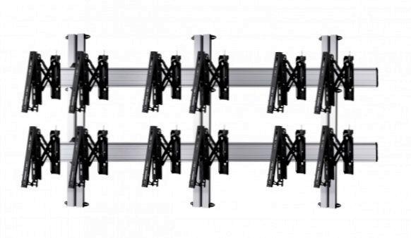 6 Displays 2×3, Teleskop-VESA, zur Wandbefestigung