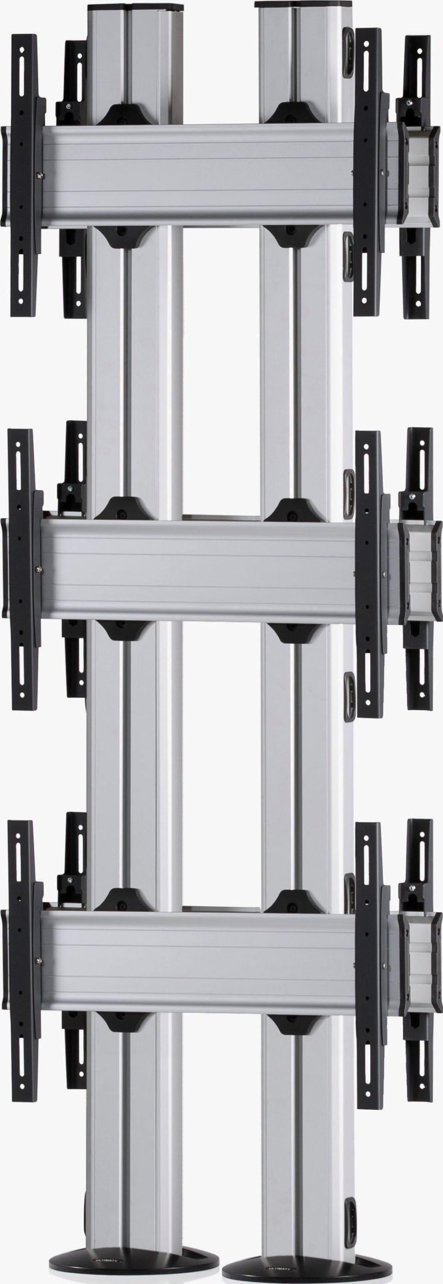 6 Displays 3×1 beidseitig, für große Bildschirme, Standard-VESA, zur Bodenbefestigung