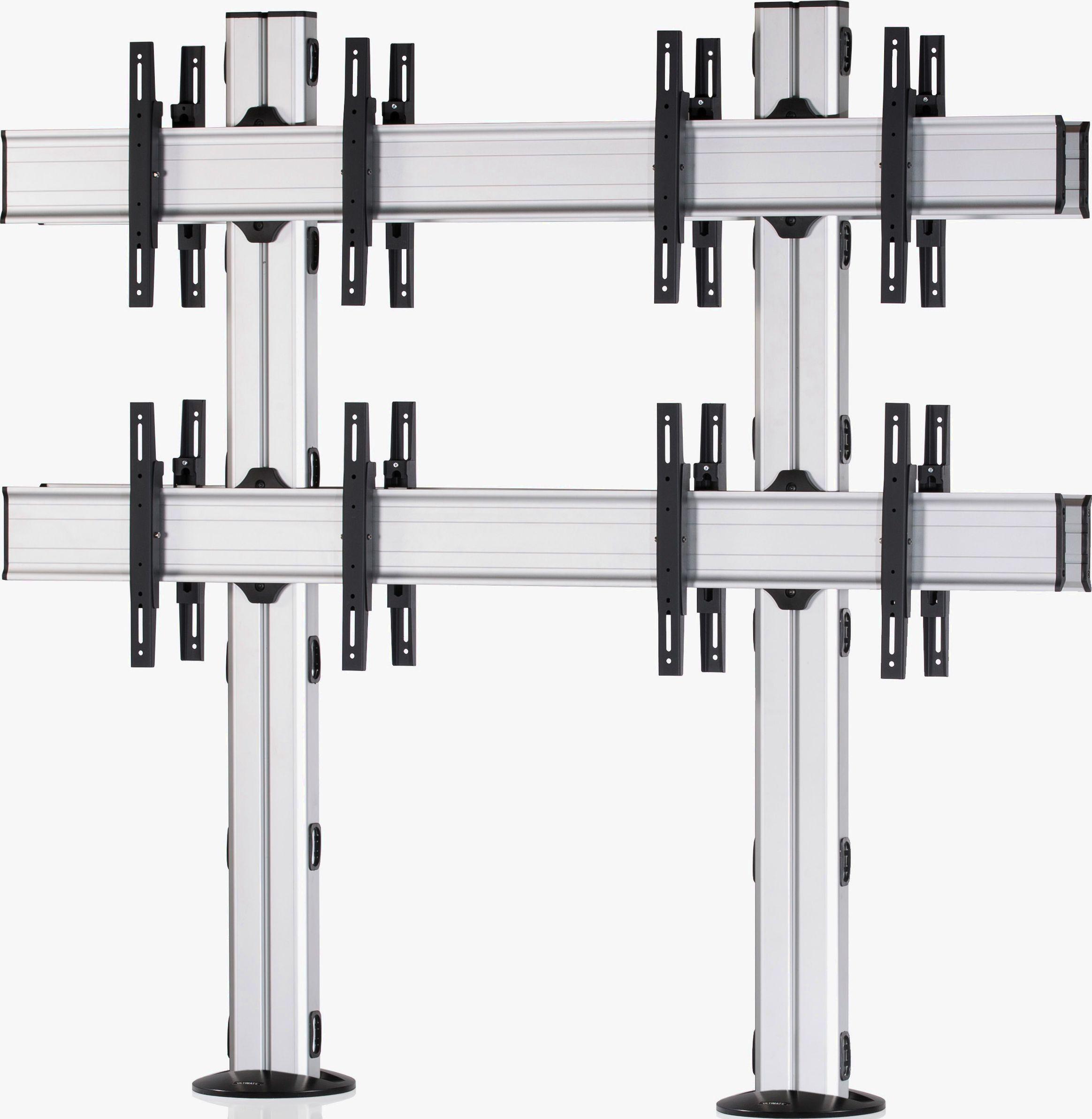8 Displays 2×2 beidseitig, Standard-VESA, zur Bodenbefestigung