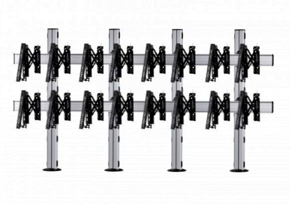 8 Displays 2×4, für große Bildschirme, Teleskop-VESA, zur Bodenbefestigung