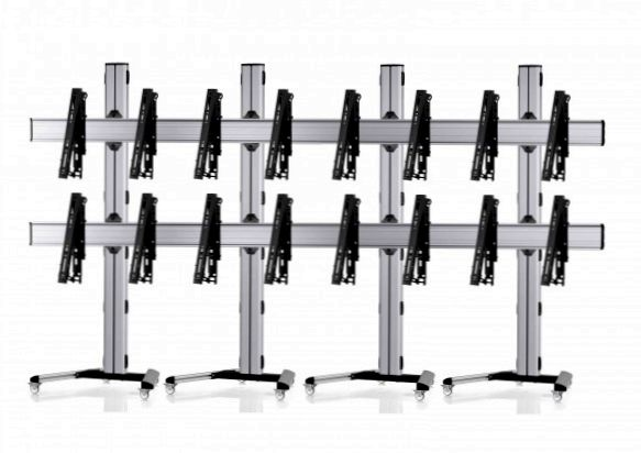 8 Displays 2x4, multifunktioneller VESA, auf Standfüßen mit Laufrollen