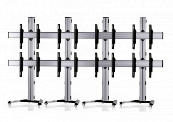 8 Displays 2x4, Standard-VESA, auf Standfüßen mit Laufrollen