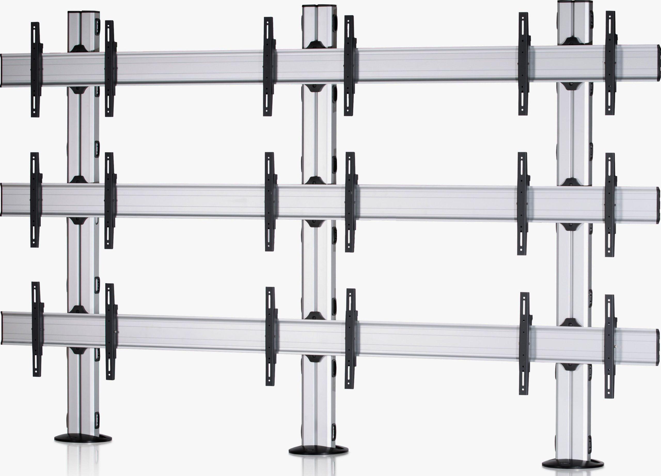 9 Displays 3×3, Standard-VESA, zur Bodenbefestigung