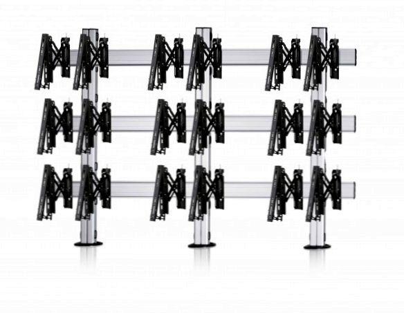 9 Displays 3×3, Teleskop-VESA, zur Bodenbefestigung