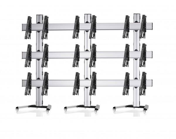 9 Displays 3×3, multifunktioneller VESA, auf Standfüßen mit Laufrollen