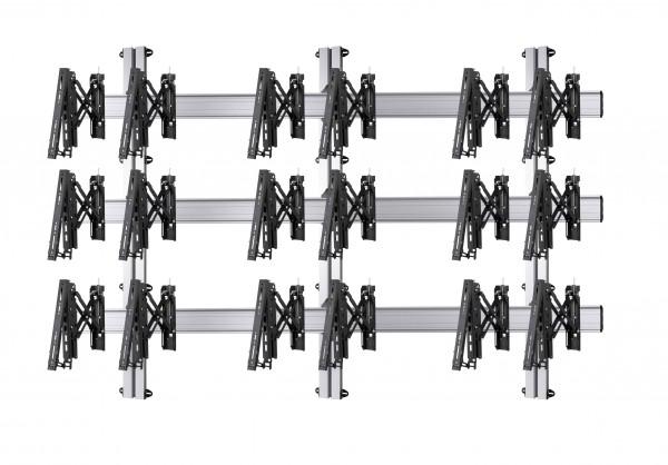 9 Displays 3×3, Teleskop-VESA, zur Wandbefestigung